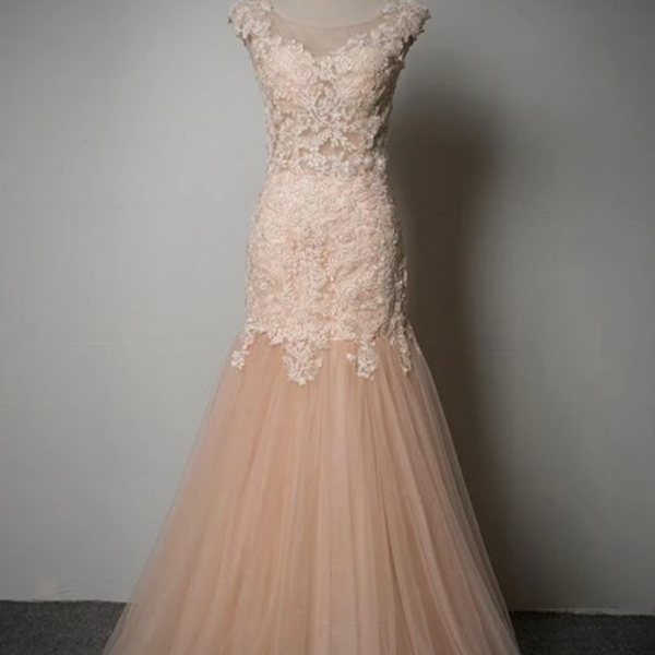 Tulle Mermaid Gown With Lace Applique, Evening Gown