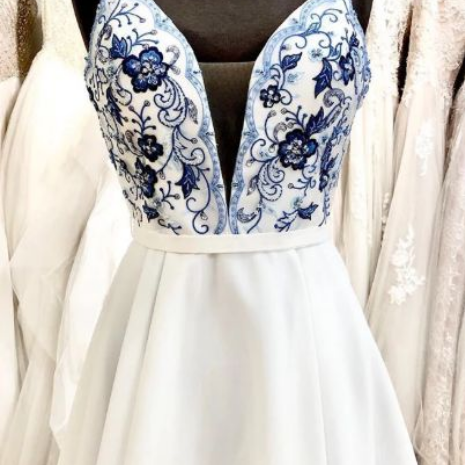 cute short whtie and blue floral embroidery short prom dress homecoming dress