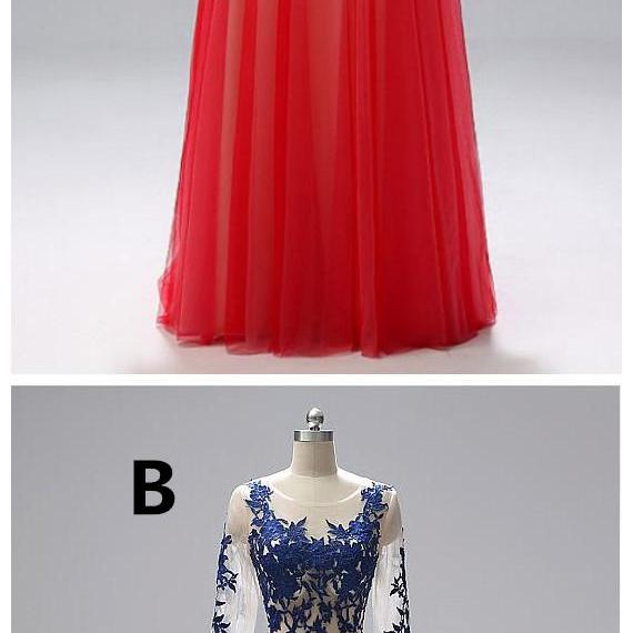 In Stock Winsome Tulle Jewel Neckline Floor-length A-line Evening Dresses With Lace Appliques