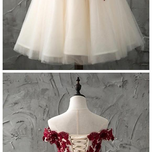 Charming Prom Dress, A Line Prom Dresses, Elegant Homecoming Dress, Short Tulle Prom Gowns