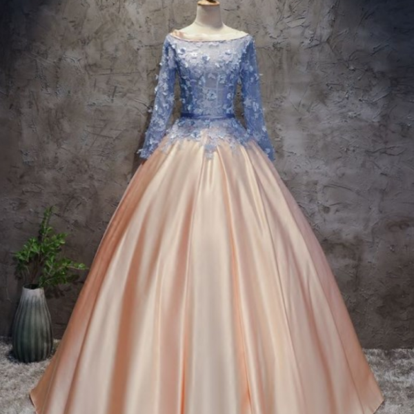 CHIC A-LINE BALL GOWNS PINK BLUE SATIN APPLIQUE LONG SLEEVE PROM DRESS EVENING GOWNS , Evening Dress Featuring Choker Necklace, long prom dress, evening dress