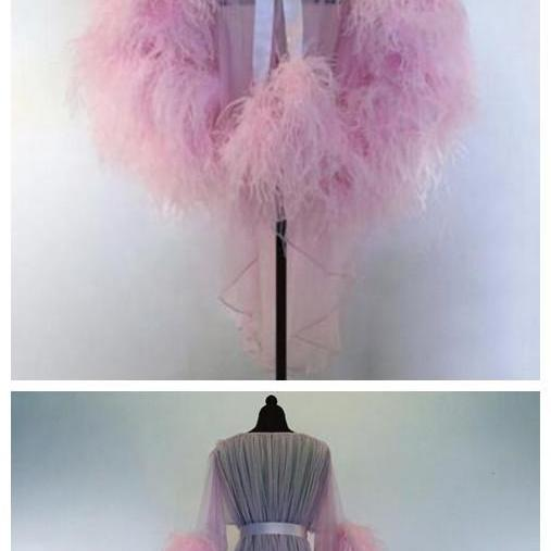 Hot Sale Long Evening Dress 2018 Sexy See Through Long Sleeve Feathers African Pink Women Formal Evening Gowns Robe De Soiree