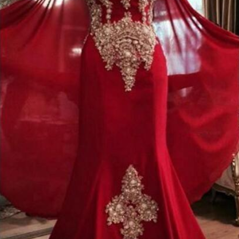 Luxurious Lace Red Arabic Dubai India Evening Dresses Sweetheart Beaded Mermaid Chiffon Prom Dresses With A Cloak Formal Party Gowns