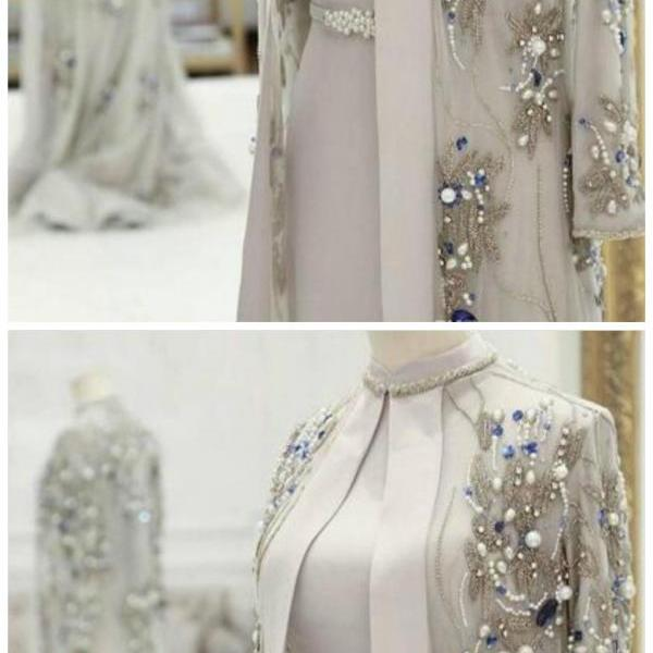 Gorgeous Beaded Mother Of The Bride Dresses With Long Sleeves Pearls Plus Size Wedding Guest Dress Crystals High Neck Evening Gowns