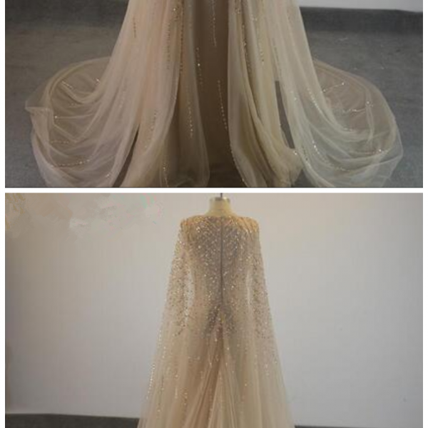 Elegant Formal Evening Dresses 2018 Champagne Tulle Cape Ruffles Real Photo Show Long Sheer Prom Party Gowns Evening Wear Dress