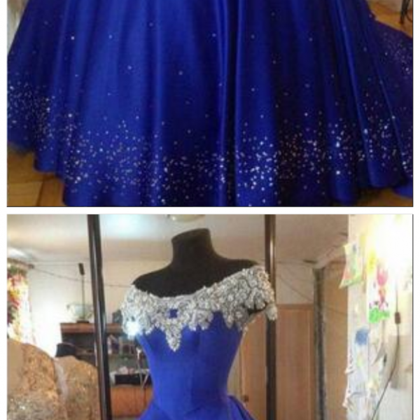 Cinderella Ball Gown Quinceanera Dresses Debutante Crystal Puffy 2017 Prom Gowns Royal Blue Beads Masquerade Pageant Dress