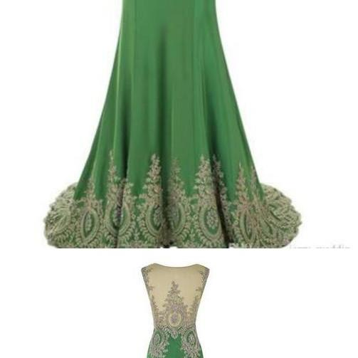 Real Photos 2018 Elegant Green Chiffon Long Mermaid Evening Dress Scoop Sleeveless Prom Vestido Longo Formal Pageant