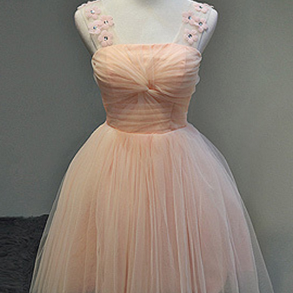 Straps pink Cute Homecoming Dress Tulle Short Prom Dress Bridesmaid Dresses