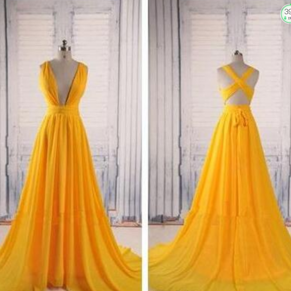 Simple Yellow A Line Chiffon Prom Dresses 2017 New Backless V Neck Criss Cross Floor Length Long Formal Evening Gown Party Dresses