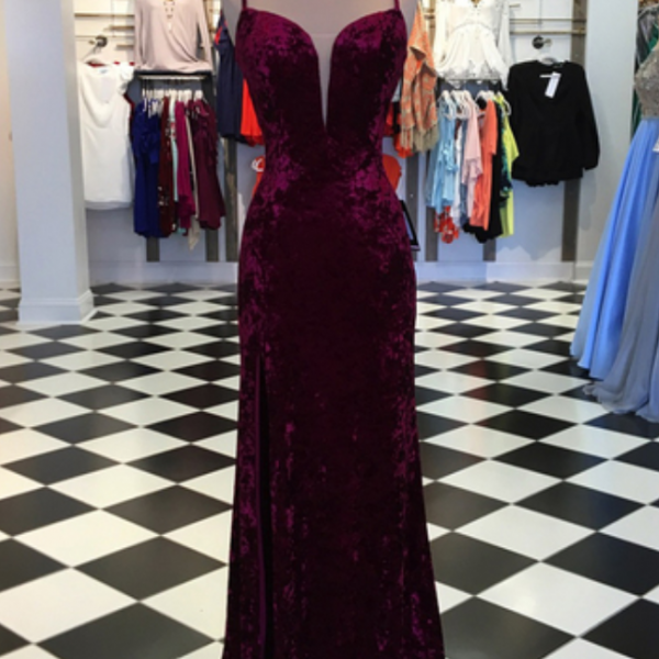 Elegant burgundy velvet spaghetti straps V neck long mermaid slit evening dresses