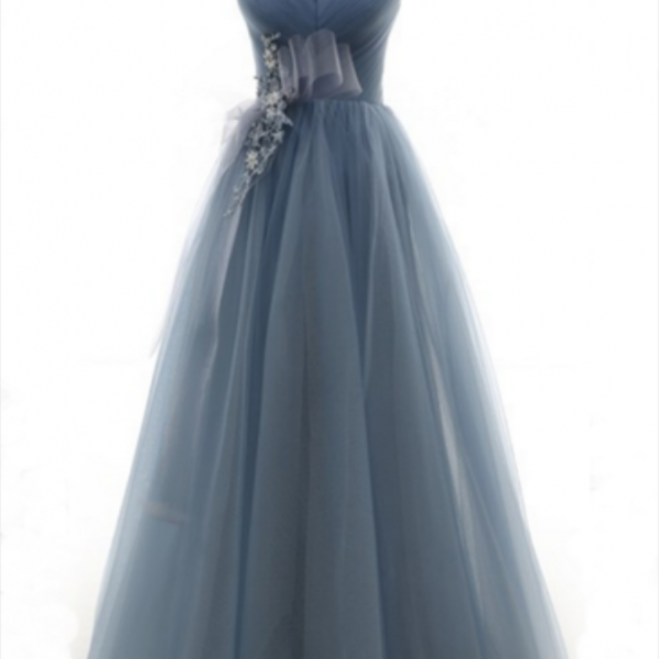 Deep blue tulle long lace up prom dress, long evening dress