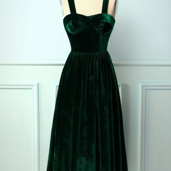Dark Green Velet Charming Prom Dress