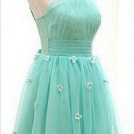 Pretty Handmade Homecoming Dress,Short Tulle Handmade Flower Homecoming Dresses