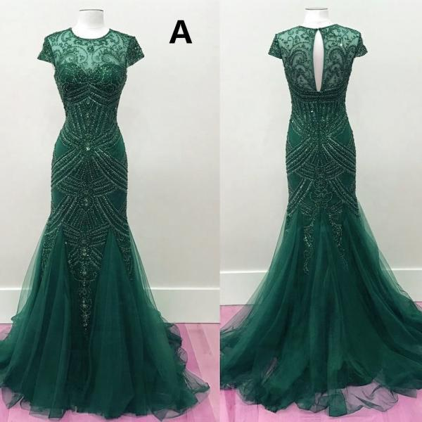 Fully Beaded Mermaid Prom Dresses 2017 Pageant Evening Gowns,Fashion Prom Dress,Sexy Party Dress,Custom Made Evening Dress
