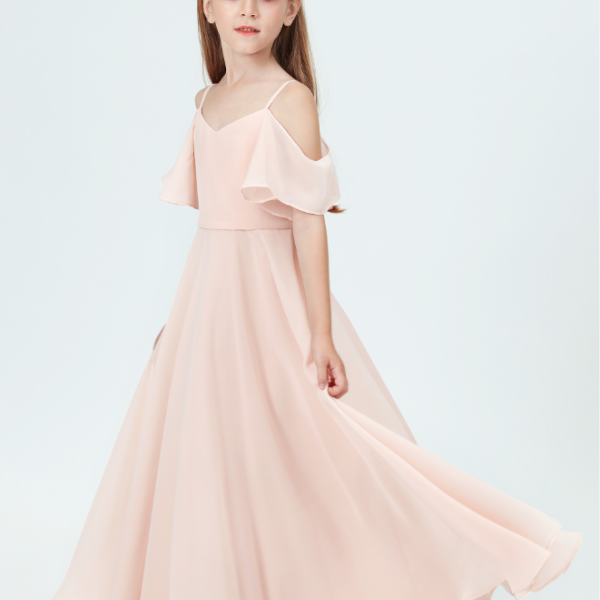 flower girl dresses, Girls Bridesmaid Dresses Off-Shoulder Ruffled Sleeves For Wedding Pleated Dresses Girl Party Princess Gowns Long Prom Dress