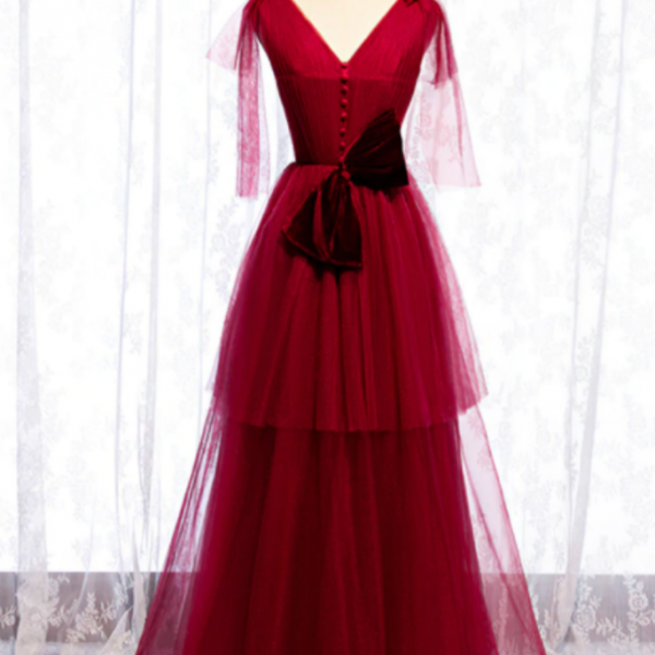 Burgundy Tulle V-neck Pleats Long Prom Dress With Bow