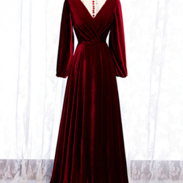 Dark Burgundy Velvet High Neck Long Sleeve Prom Dress