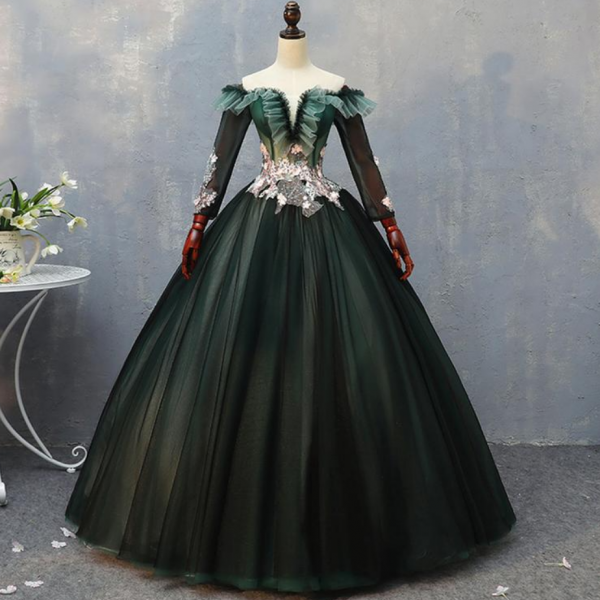 Vintage Banquet Dress Palace Style Prom Dress Long Illusion Sleeve Dress Luxury Off Shoulder Dress Gorgeous Party Dress Ball Gown