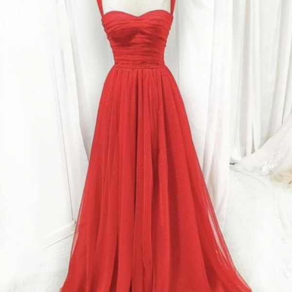 Red tulle long A line prom dress evening dress