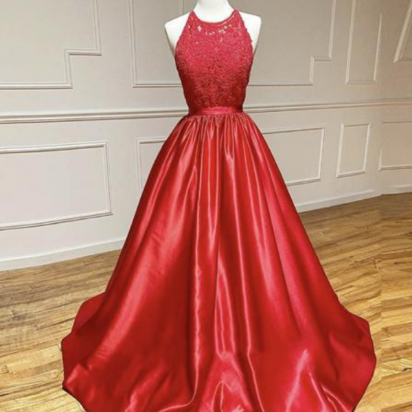 Red satin lace long prom dress formal dress