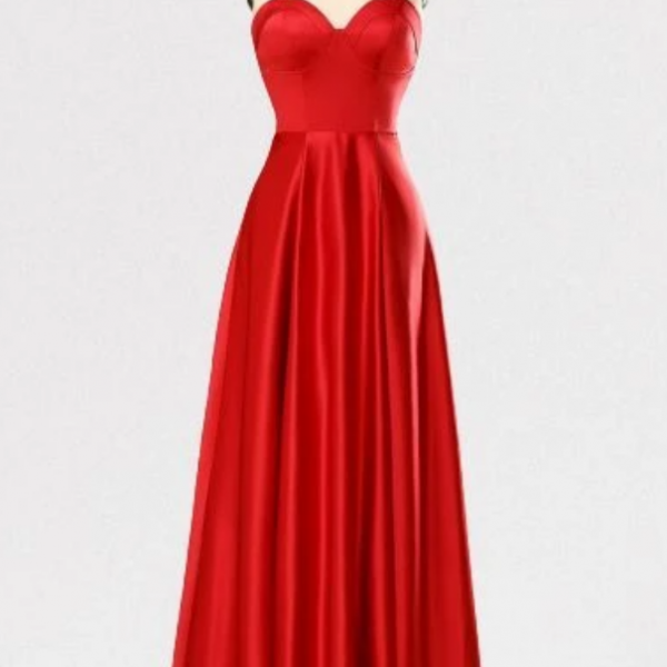 Sweetheart A-Line Red Long Prom Dress