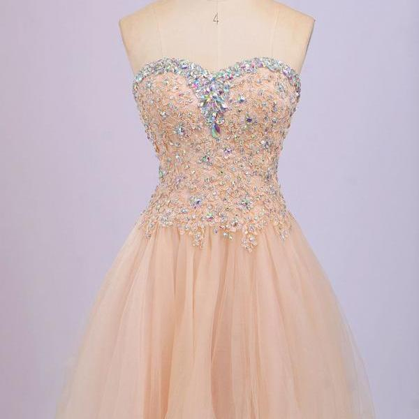 Sweetheart Graduation Dresses, Short-Mini Graduation Dresses ,Tulle And Beading Homecoming Dresses ,Homecoming Dresses, Homecoming Dress On Sale