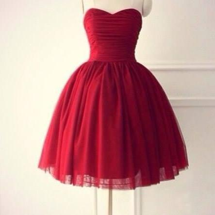 Handmade High Quality Ball Gown Knee Length Burgundy Prom Dresses, Ball Gown Prom Dresses, Short Prom Dress, Knee Length Prom Dress, Homecoming Dresses