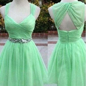 Mint Green Homecoming Dress ,chiffon Homecoming Dresses ,With Straps Homecoming Gowns, Backless Party Dress, Short Prom Dress, Sweet 16 Dress ,Open Back Homecoming Dresses