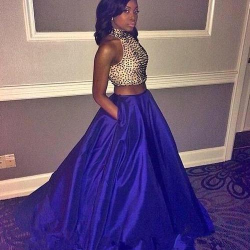 Royal Blue Prom Dresses ,2 Piece Prom Gown ,Two Piece Prom Dresses ,Satin Prom Dresses, New Style Prom Gown ,2016 Prom Dress