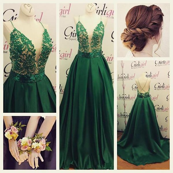 Deep V Prom Dress ,Sexy Prom Dress ,Green Prom Dress, Beautiful Prom Dress, Spaghetti Straps Prom Dress ,Lace With Satin Prom Dress ,Long Prom Dress