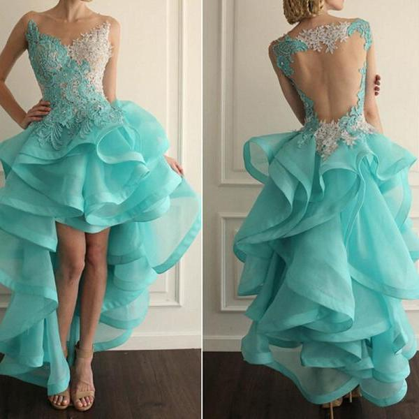 Blue Prom Dress,High Low Prom Dress, Lace Prom Dresses ,Sheer Back Prom Dress ,Organza Prom Dress ,Unique Prom Dress ,Cheap Prom Dress, Long Prom Dress