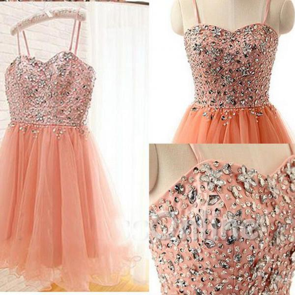 Sweetheart Beading  Dress ,Short Homecoming Dress ,Tulle Party Dress, For Women