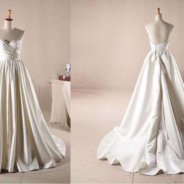 SWEETHEART NECKLINE WITH BEADING DECORATION A-LINE WEDDING Wedding Dress Bridal Dress Gown Wedding Gown Bridal Gown Lace Bridal Dress