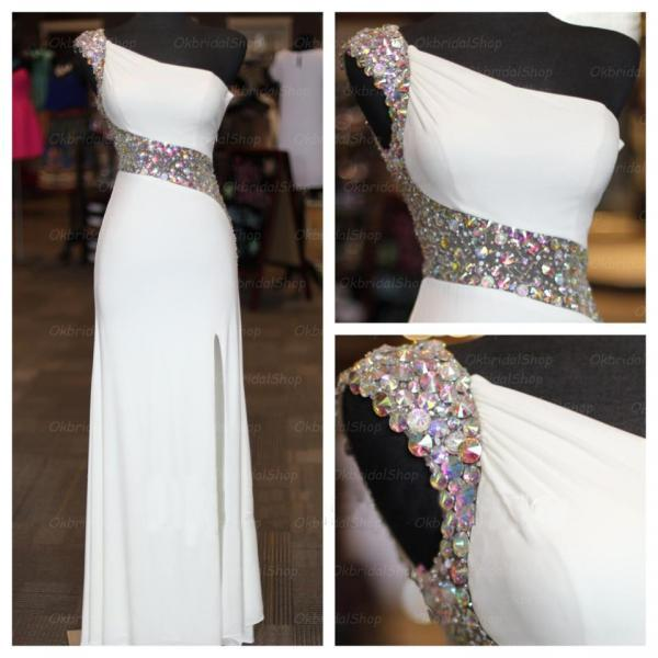 Sexy Blackless Long Prom Dresses ,White Formal Dresses, 2016 Cheap Evening Dresses, Sexy Party Dress Beading Evening Dress