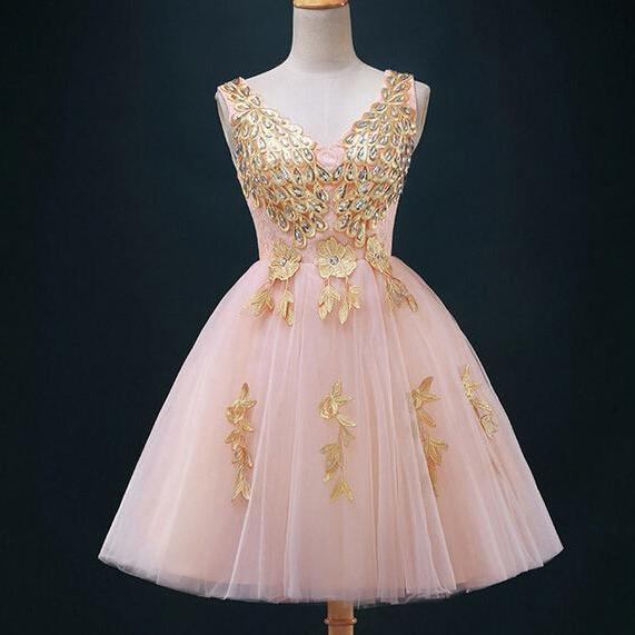 Pretty Handmade Applique Tulle Short Prom Dresses, Short Prom Dresses ,2016 Homecoming Dresses ,2016 Graduation Dresses