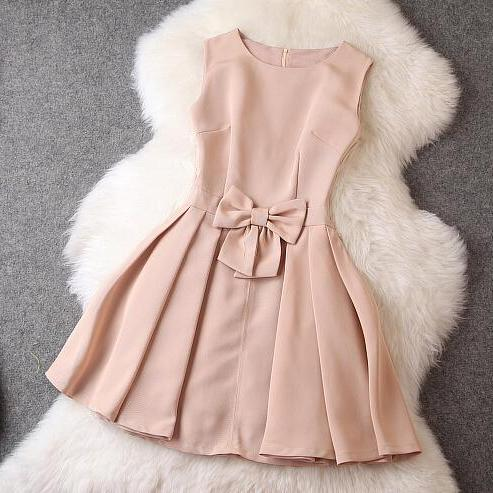Fashion Bow Sleeveless Dress,Homecoming dresses, mother dress,Quinceanera Dresses
