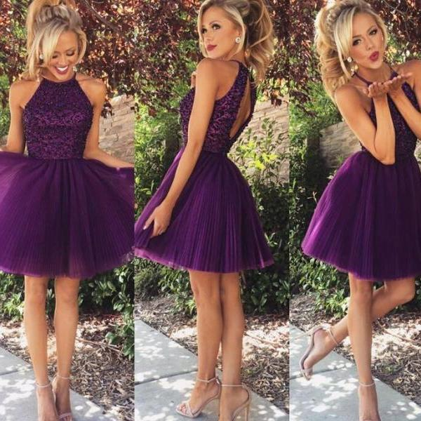 Short Prom Dresses, Backless Prom Dresses, Beading Prom Dresses, Purple Prom Dresses, Homecoming Dresses, Party Dresses, Custom Prom Dresses