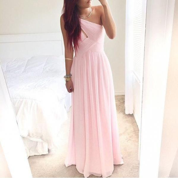 Pretty Pink One-Shoulder Simple Prom Dress With Beadings Prom Dresses Simple Prom Dresses 2015 Prom Gown Evening Dresses