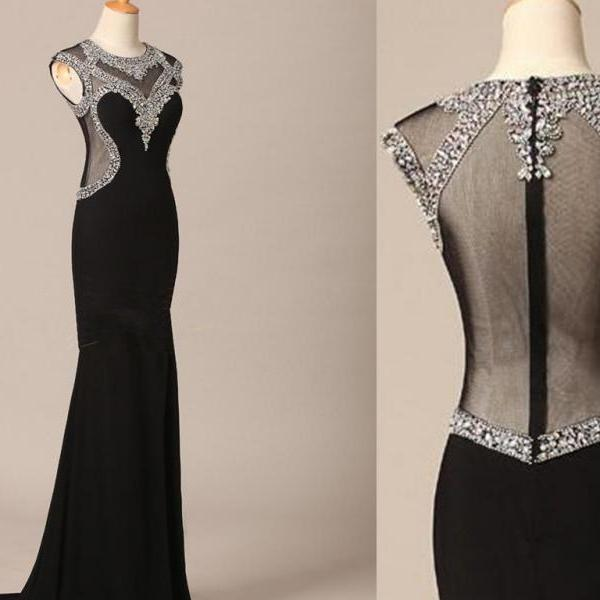 Pretty Handmade Black And Sexy Long Prom Gown With Beadings Sexy Black Evening Dresses Black Prom Gown Formal Dresses