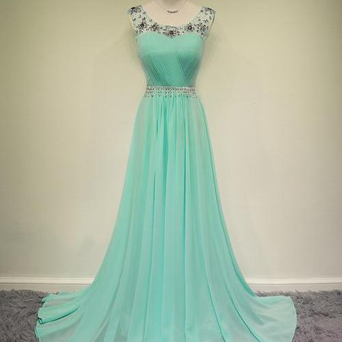 Pretty MInt Chiffon Long Handmade Prom Dresses 2016 With Beadings Mint Prom Dresses Evening Dresses Formal Dresses