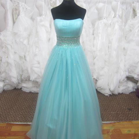 Light Blue Strapless Tulle Long Prom Dress with Beading and Lace-Up Corset Bodice