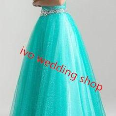 Prom Dresses,Blue Prom Gown,Ball Gown Prom Dress,Simple Formal Gowns, Elegant Evening Dress,2016 Prom Dress For Teens
