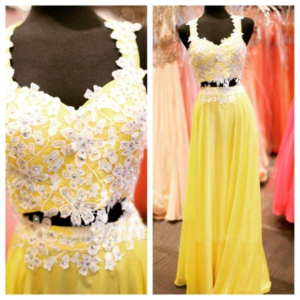 Beaded Prom Dresses,Beading Prom Dress,Yellow Prom Gown,2 Pieces Prom Gowns,Elegant Evening Dress,Lace Evening Gowns,2 Piece Evening Gowns, New Style Prom Dress