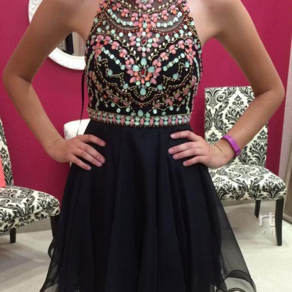 Homecoming Dresses, Beaded Black homecoming dress, 2016 Short homecoming dress, short homecoming dresses, 2016 homecoming dress, short prom dresses, homecoming dress