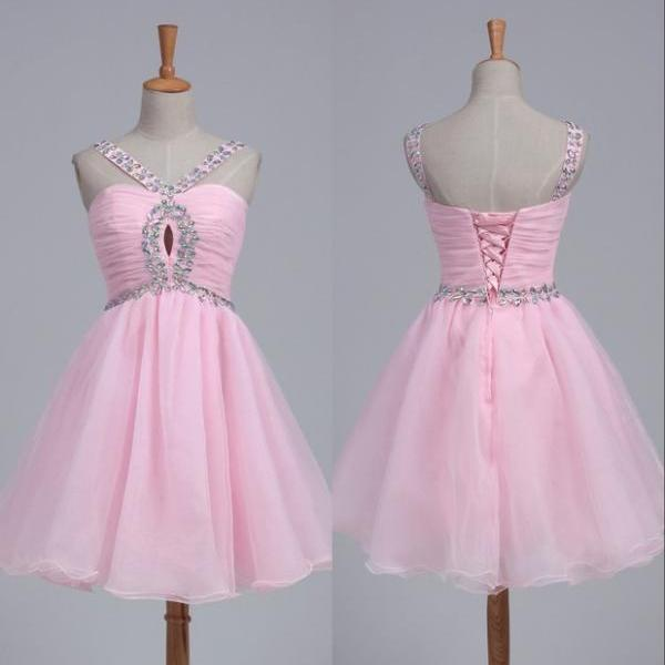 Homecoming Dresses, Pink Beaded homecoming dress, 2016 homecoming dress, short homecoming dresses, 2016 homecoming dress, short prom dresses, homecoming dress