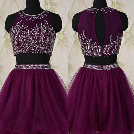 Homecoming Dresses, 2 pieces Purple homecoming dress, Sexy homecoming dress, short homecoming dresses, 2016 homecoming dress, short prom dresses, homecoming dress