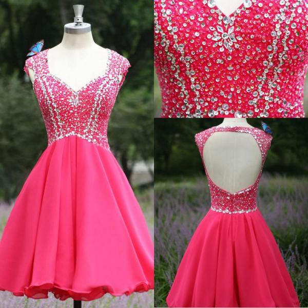 Homecoming Dresses,Junior Homecoming Dresses,Open back homecoming dress, Hot Pink homecoming dress, short homecoming dresses, 2016 homecoming dress, short prom dresses, homecoming dress