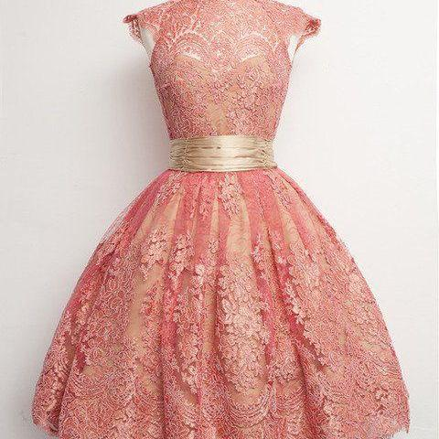 Homecoming Dresses,Junior Homecoming Dresses,Peach lace homecoming dress, 2016 cap sleeve lace homecoming dress, short homecoming dresses, 2016 homecoming dress, short prom dresses, homecoming dress
