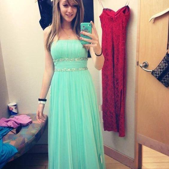 Cute Elegant Mint Green Long Prom Dresses,Handmade Chiffom Girly Prom Gowns