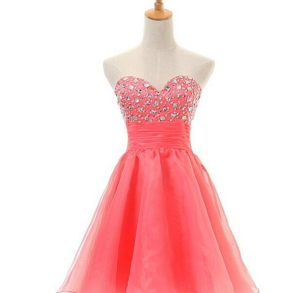 Crystal Embellished Sweetheart Short Tulle Homecoming Dress Featuring Ruched Waist, Formal Dress